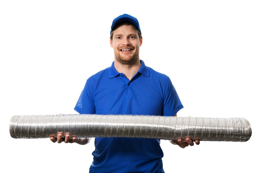 hvac worker with flexible ventilation system tube in hands