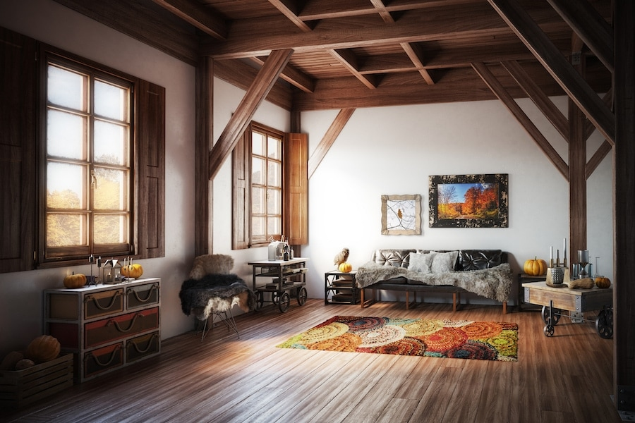 Cozy living room in home during Autumn representing fall indoor air quality