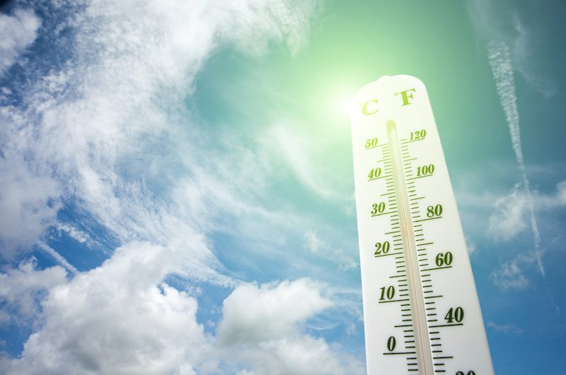 Thermometer showing hot summer temperatures in Logan