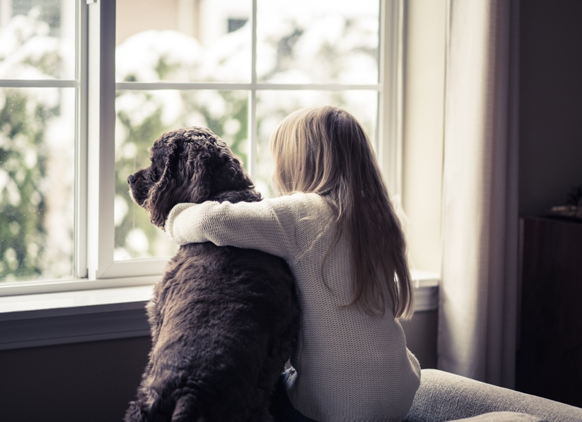 Little girl and her dog looking out the window, how do I keep my heat during extreme cold weather?